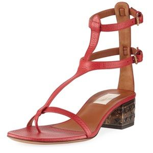 New Valentino leather t-strap sandals heels shoes